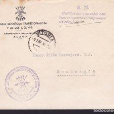 Sellos: CM3-9- GUERRA CIVIL. CARTA SECRETARÍA FALANGE ALAVA- MONDRAGÓN 1938. . Lote 132751482