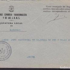 Sellos: CM3-14- GUERRA CIVIL CARTA MARCA JEFATURA LOCAL FALANGE ALCARRAZ LÉRIDA . Lote 132754814