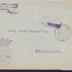 Sellos: CM3-15- GUERRA CIVIL CARTA MARCA FALANGE AUXILIO SOCIAL CORUÑA.1939. FRANQUICIA Y CENSURA. Lote 132755278