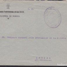 Sellos: CM3-15- GUERRA CIVIL CARTA MARCA FALANGE MANDO 6ª BANDERA DE BURGOS. Lote 132757578