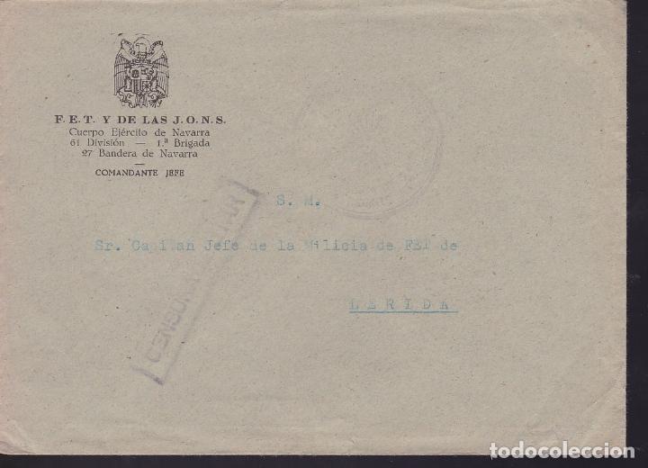 CM3-16- GUERRA CIVIL CARTA FALANGE. EJERCITO NAVARRA .61 DIVISIÓN . ª BRIGADA. 27 BANDERA NAVARRA (Sellos - España - Guerra Civil - De 1.936 a 1.939 - Cartas)