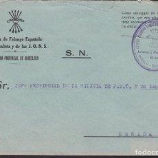 Sellos: CM3-22- GUERRA CIVIL CARTA FALANGE MILICIA JEFATURA BARCELONA . Lote 132760146