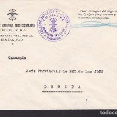 Sellos: CM3-22- GUERRA CIVIL CARTA FALANGE SECRETARÍA PROVINCIAL DE BADAJOZ. CENSURA . Lote 132760234