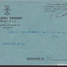 Sellos: CM3-24- GUERRA CIVIL CARTA FALANGE DELEGACIÓN PROVINCIAL LÉRIDA . Lote 132760554