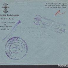 Sellos: CM3-25- GUERRA CIVIL CARTA FALANGE DELEGACIÓN NACIONAL ADMINISTRACIÓN BURGOS . FRANQUICIA. Lote 132760734