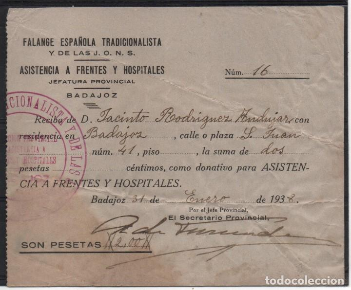 BADAJOZ, -ASISTENCIA A FRENTES Y HOSPITALES-- DONATIVO 2 PTAS, 31 ENERO 1938, VER FOTOS (Sellos - España - Guerra Civil - Locales - Usados)