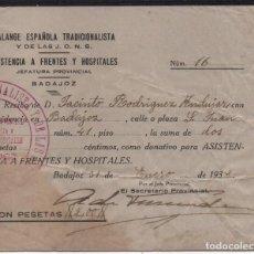 Sellos: BADAJOZ, -ASISTENCIA A FRENTES Y HOSPITALES-- DONATIVO 2 PTAS, 31 ENERO 1938, VER FOTOS. Lote 133063306