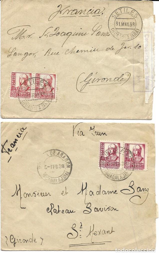 1938 LOTE 2 CARTAS HISTORIA POSTAL GUERRA CIVIL. MOLINA DE ARAGON (GUADALAJARA) A FRANCIA. CENSURA (Sellos - España - Guerra Civil - De 1.936 a 1.939 - Cartas)