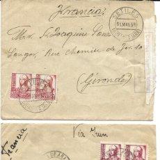 Sellos: 1938 LOTE 2 CARTAS HISTORIA POSTAL GUERRA CIVIL. MOLINA DE ARAGON (GUADALAJARA) A FRANCIA. CENSURA. Lote 133186618