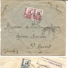 Stamps - 1938 lote 2 Cartas Historia Postal Guerra Civil. Molina de Aragon (Guadalajara) a Francia. CENSURA - 133186894