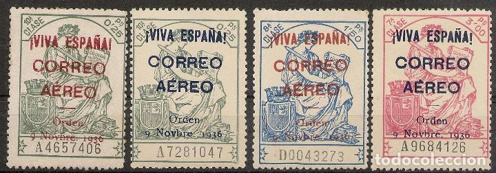 ESPAÑA LOCALES PATRIÓTICOS TIMBRES EDIFIL 19/22**MNH SERIE COMPLETA 1936 NL1147 (Sellos - España - Guerra Civil - Locales - Nuevos)
