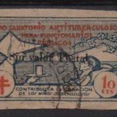 Sellos: PRO SANATORIO ANTITUBERCULOSOS, 5 Y 10 CTS, DENTADO- 10 CTS, SIN DENTARSOBRECARGA SIN VALOR POSTAL, . Lote 133379106
