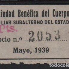 Sellos: SOCIEDAD BENEFICA DEL CUERPO AUX. SUBALTERNO DEL ESTADO, 2 PTAS, VER FOTO. Lote 133415974