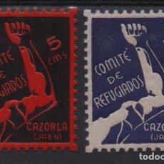 Sellos: CAZORLA- JAEN, 5 CTS- ROJO Y AZUL. -COMITE REFUGIADOS- VER FOTO. Lote 133416726