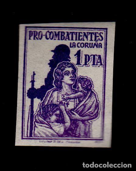 VIÑETA GUERRA CIVIL LA CORUÑA 1 PTA. VIOLETA FESOFI Nº 44A SIN DENTAR (Sellos - España - Guerra Civil - Viñetas - Nuevos)