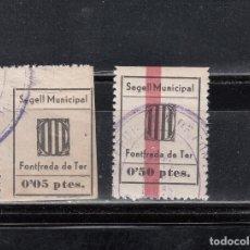 Sellos: FONFREDA DE TER. SEGELL MUNICIPAL. 2 SELLOS CON MATASELLOS DE LA LOCALIDAD. Lote 133751246