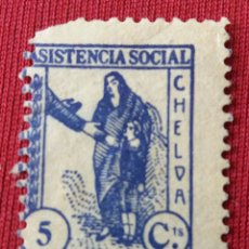 Sellos: CHELVA. VALENCIA. ASISTENCIA SOCIAL. 5 CÉNTIMOS.. Lote 133794219