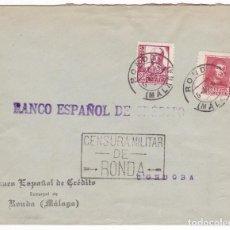 Sellos: CM3-27- GUERRA CIVIL. CARTA RONDA (MÁLAGA) 1938. CENSURA Y LOCAL SOBRECARGA TAMPÓN RONDA. Lote 133848394