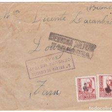 Sellos: CM3-28- GUERRA CIVIL. CARTA ZARAGOZA -FRANCIA 1938. 2 CENSURAS ZARAGOZA. MATASELLOS MUDO PUNTO. Lote 133849030