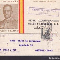 Sellos: CM3-31- GUERRA CIVIL. TARJETA PATENTADA ISUTRADA FRANCO AZCOITIA-ASTORGA 1937. CENSURA. Lote 133850302