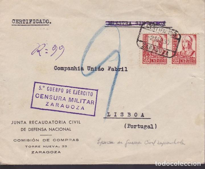CM3-31- GUERRA CIVIL. CERTIFICADO ZARAGOZA-LISBOA.1937. JUNTA RECAUDATORIA DE DEFENSA NACIONAL (Sellos - España - Guerra Civil - De 1.936 a 1.939 - Cartas)