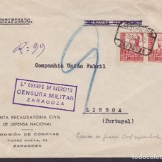 Sellos: CM3-31- GUERRA CIVIL. CERTIFICADO ZARAGOZA-LISBOA.1937. JUNTA RECAUDATORIA DE DEFENSA NACIONAL. Lote 133851022