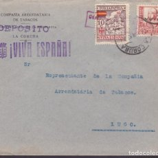 Sellos: CM3-33- GUERRA CIVIL. CARTA CIA TABACOS LA CORUÑA- LUGO 1937. TRIPLE MATASELLOS. Lote 133851618