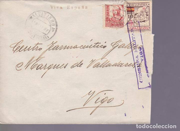 CM3-37- GUERRA CIVIL. CARTA SALVATIERRA (PONTEVEDRA) 1937. LOCAL , CIERRE CENSURA VIGO (Sellos - España - Guerra Civil - De 1.936 a 1.939 - Cartas)