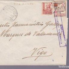 Sellos: CM3-37- GUERRA CIVIL. CARTA SALVATIERRA (PONTEVEDRA) 1937. LOCAL , CIERRE CENSURA VIGO. Lote 133853778