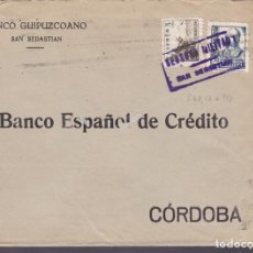Sellos: CM3-38- GUERRA CIVIL. CARTA SAN SEBASTIAN 1938. CENSURA Y VIÑETA ASISTENCIA FRENTES Y HOSPITALES. Lote 133854326