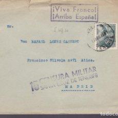 Sellos: CM3-41- GUERRA CIVIL.CARTA SANTA CRUZ DE TENERIFE 1939. CENSURA Y MARCA COMANDANCIA GENERAL. Lote 133868006