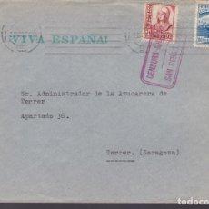 Sellos: CM3-43- GUERRA CIVIL. CARTA SAN SEBASTIÁN- TERRER (ZARAGOZA) 1937. CRUZADA FRIO Y CENSURA. Lote 133868198