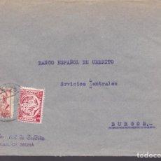 Sellos: CM3-44- GUERRA CIVIL. CARTA OSUNA (SEVILLA) -BURGOS 1938. LOCAL Y FAJA CIERRE CENSURA OSUNA. Lote 133868270