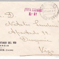 Sellos: CM3-62- GUERRA CIVIL. CARTA FARMACIA DEL RIO ORDENES (CORUÑA) 1937. LOCAL Y CIERRE CENSURA GRAPA. Lote 133984686
