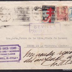 Sellos: CM3-63- GUERRA CIVIL. CARTA SEVILLA -JEREZ 1937. CENSURA, LOCAL Y TUBERCULOSOS. Lote 133984742