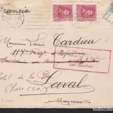 Sellos: CM3-67- GUERRA CIVIL. CARTA SAN SEBASTIAN -FRANCIA 1938. REEXPEDIDA. CENSURA Y CID BISECTADO. Lote 134018418