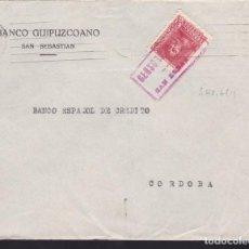 Sellos: CM3-68- GUERRA CIVIL. CARTA SAN SEBASTIAN 1938. CENSURA Y FRENTES HOSPITALES GUIPUZCOA. Lote 134019630