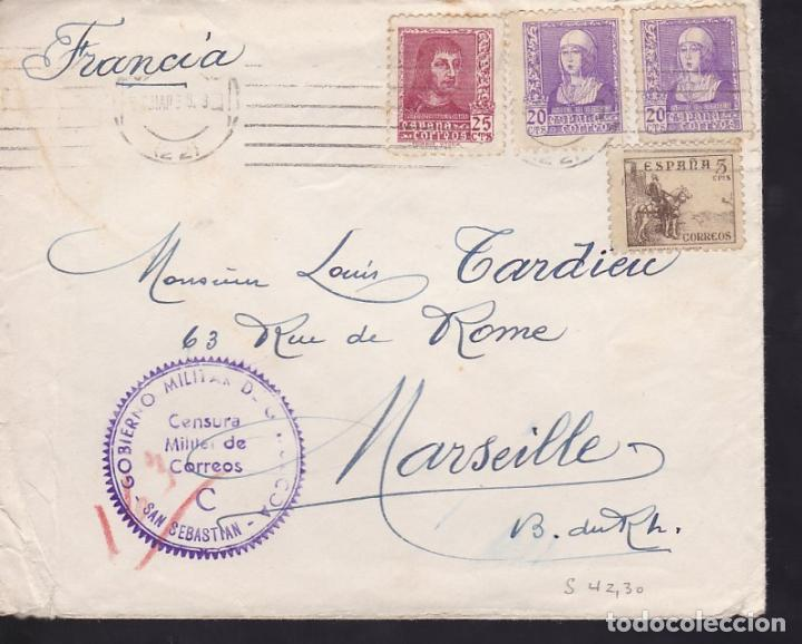 CM3-68- GUERRA CIVIL. CARTA SAN SEBASTIAN -FRANCIA 1939. CENSURA (Sellos - España - Guerra Civil - De 1.936 a 1.939 - Cartas)