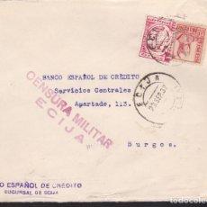 Sellos: CM3-69- GUERRA CIVIL. CARTA ECIJA 1937. LOCAL Y CENSURA. DORSO RODILLO TURÍSTICO BURGOS. Lote 134020326
