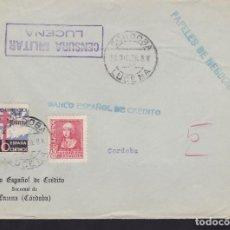Sellos: CM3-69- GUERRA CIVIL. CARTA LUCENA (CÓRDOBA) 1938. TUBERCULOSOS Y CENSURA . Lote 134020758
