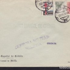 Sellos: CM3-70- GUERRA CIVIL. CARTA MELILLA 1939 . TUBERCULOSOS Y CENSURA . Lote 134020914