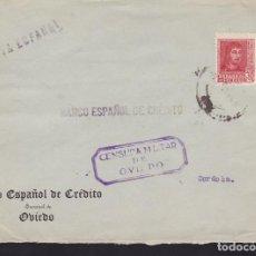 Sellos: CM3-70- GUERRA CIVIL. CARTA OVIEDO) 1938?. LOCAL Y CENSURA . Lote 134021146