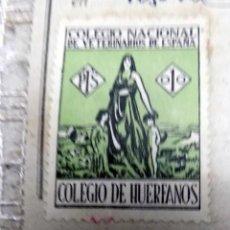 Timbres: COLEGIO DE HUERFANOS, COLEGIO NACIONAL DE VETERINARIOS DE ESPAÑA, SOBRE DOCUMENTO. Lote 134147722