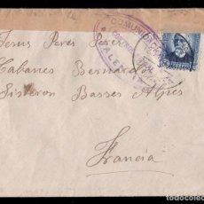 Sellos: * CARTA REPUBLICA 1938 DE MURCIA A FRANCIA. COMUNICACIONES, CONTROL OFICIAL (VALENCIA) EDIF. 688 *. Lote 134231414