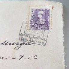Sellos: GUERRA CIVIL CARTA FRONTAL CON CENSURA CUARTEL GENERAL DEL GENERALISIMO 1938. Lote 134376814