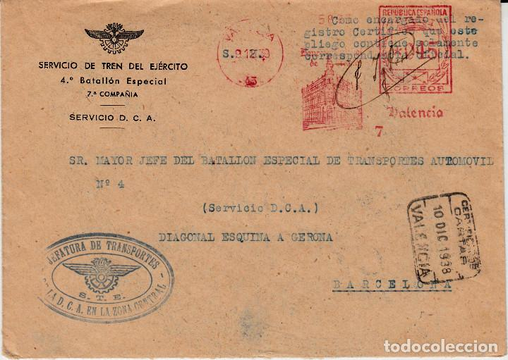 CARTA GUERRA CIVIL -FRANQUEO MECÁNICO BANESTO -1938-SERVICIO DE TREN DEL EJERCITO (Sellos - España - Guerra Civil - De 1.936 a 1.939 - Cartas)