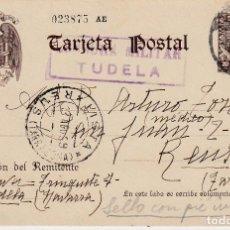 Sellos: GUERRA CIVIL- ENTERO POSTAL CON CENSURA MILITAR DE TUDELA-DIRIGIDO AL DR. TORT -DE REUS --. Lote 134712978