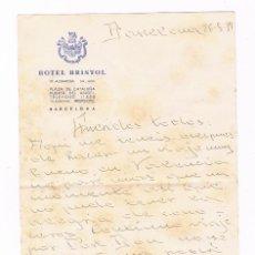 Sellos: HOTEL BRISTOL 1937 BARCELONA CARTA GUERRA CIVIL. Lote 135338426