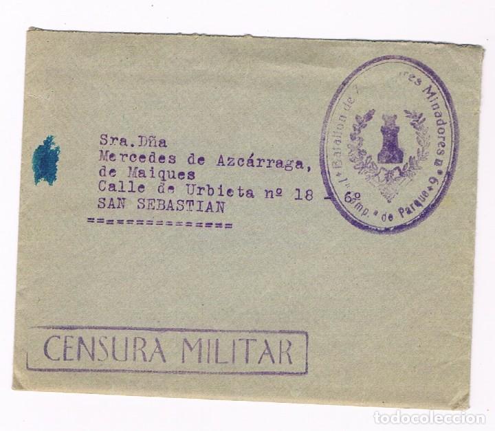 GALLUR - SAN SEBASTIAN 1938 CENSURA MILITAR - SOBRE Y CARTA (Sellos - España - Guerra Civil - De 1.936 a 1.939 - Cartas)