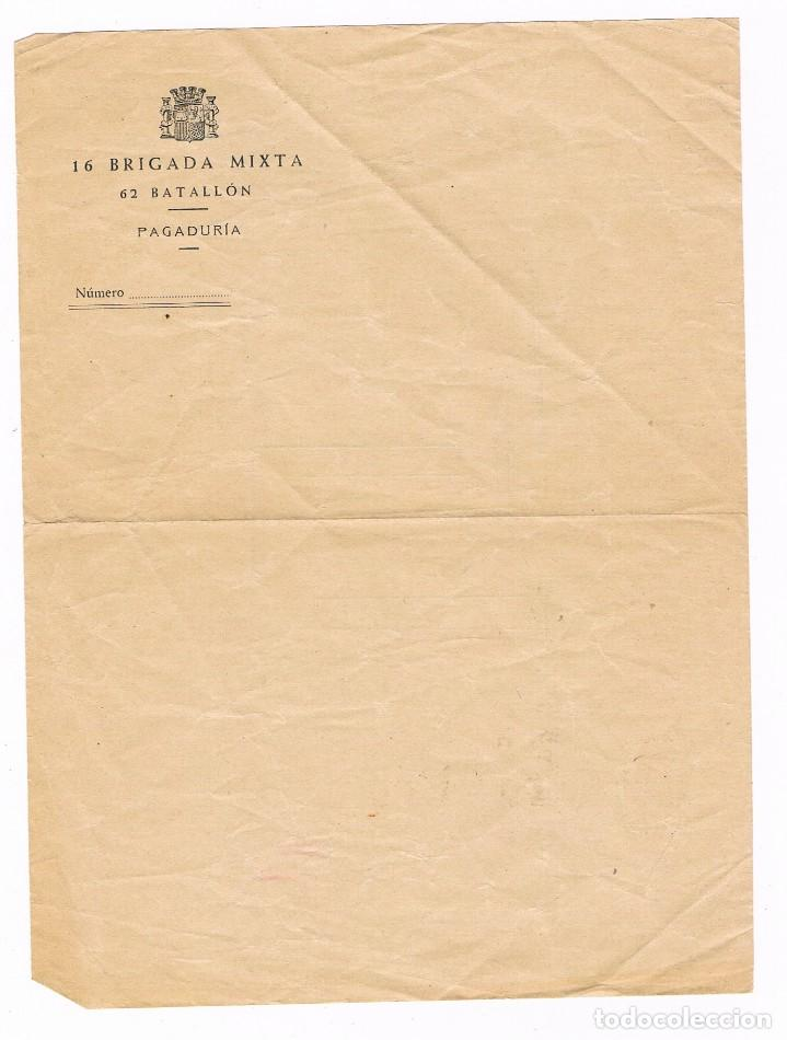 GUERRA CIVIL 16 BRIGADA MIXTA 62 BATALLON (Sellos - España - Guerra Civil - De 1.936 a 1.939 - Cartas)